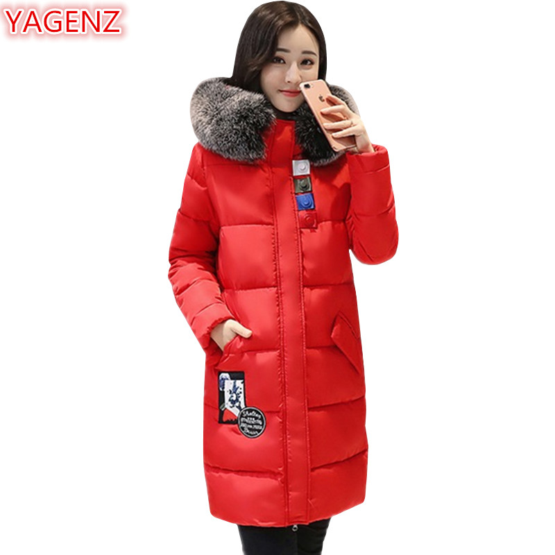 YAGENZ  Women Red Coat New Winter Women clothing Cotton clothing Jacket Long sectio Fashion Keep warm Fur collar Hooded Coat 623