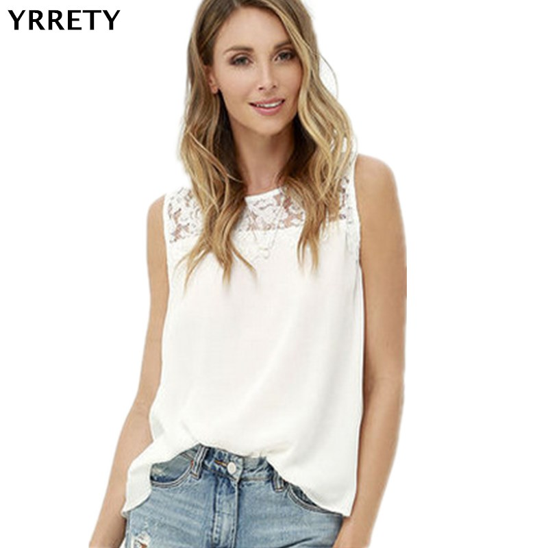 YRRETY 2019 New Style Women Tops Summer   Blouse     Shirts   Lace Top Sleeveless Chiffon White Ladies Office OL Female Clothing Blusas