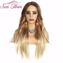 Suri Hair Cosplay ombre blonde Wig 28 inch Long Straight Synthetic Wigs For White Women American Dark brown root no bangs hair dark skin nude doll for series no 260bl3157 brown hair