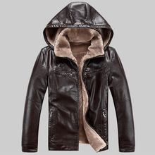 New Winter Leather Jackets Men Faux Fur Coats High Quality Casual Motorcycle Leather Jacket 2017 Brand Jacket Hat Detachable 5XL
