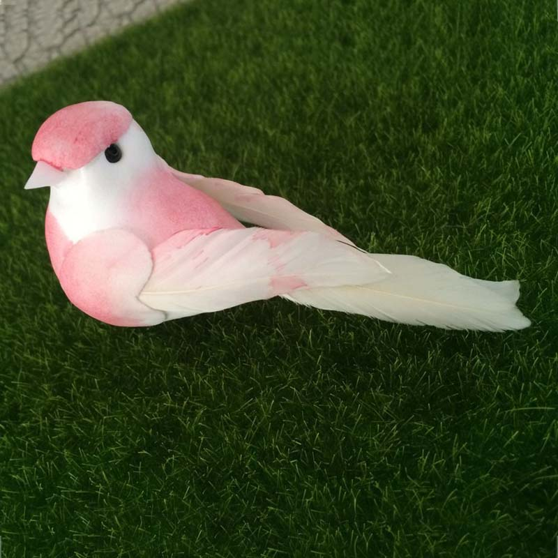 Us 12 99 12pcs Lenght 10cm Artificial Foam Feather Love Birds In Pink Wedding Decorations Diy Bird Ornaments For Home Garden Scrapbooking In Party