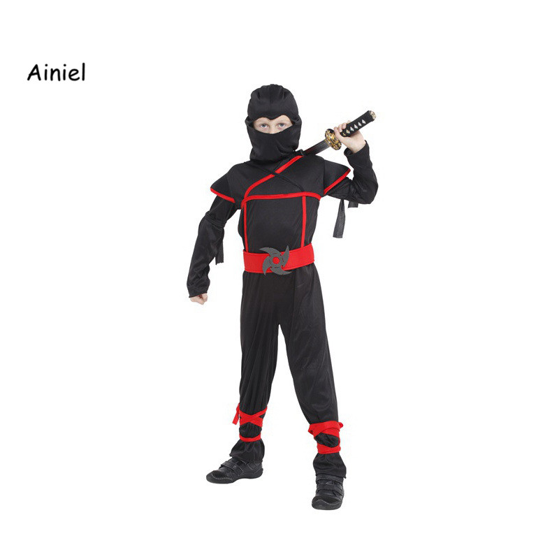 Ainiel Stealth Ninja Boys Costume Child samurai warrior Anime Kids Cosplay Fancy dress for Carnival Halloween party dressing up