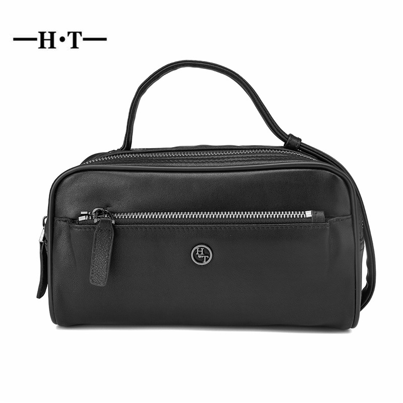HT Genuine Leather Day Clutches Men Handbags Black Handy Bags Zipper Male Purses Cow Leather Square
