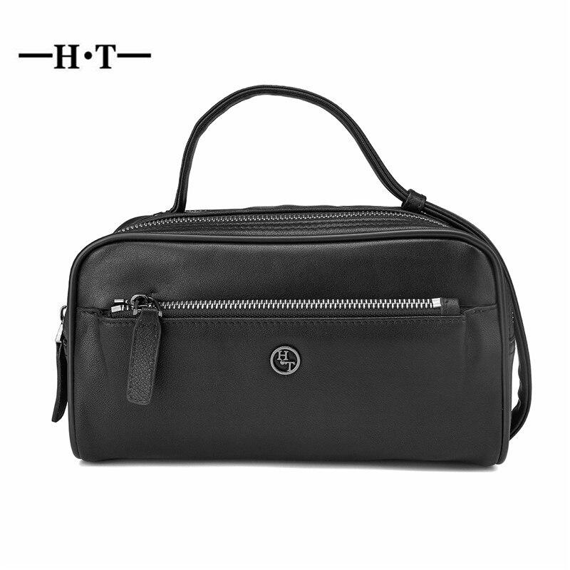 HT หนังแท้กระเป๋าถือผู้ชายกระเป๋าถือสีดำกระเป๋าถือชายซิปกระเป๋าหนังวัวควายกระเป๋าถือซิป-ใน กระเป๋าหูหิ้วด้านบน จาก สัมภาระและกระเป๋า บน   1