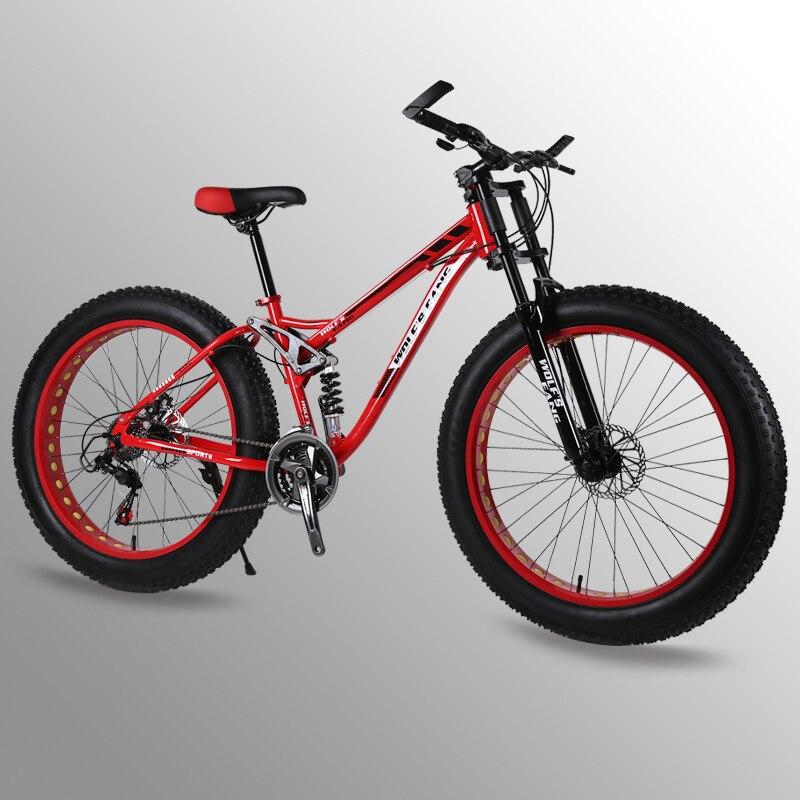 Fahrrad 26 zoll 24 geschwindigkeit fett mountainbike bicicleta Frühling Gabel bisiklet Vorne und Hinten Mechanische Scheiben Bremse Männlich Fahrrad