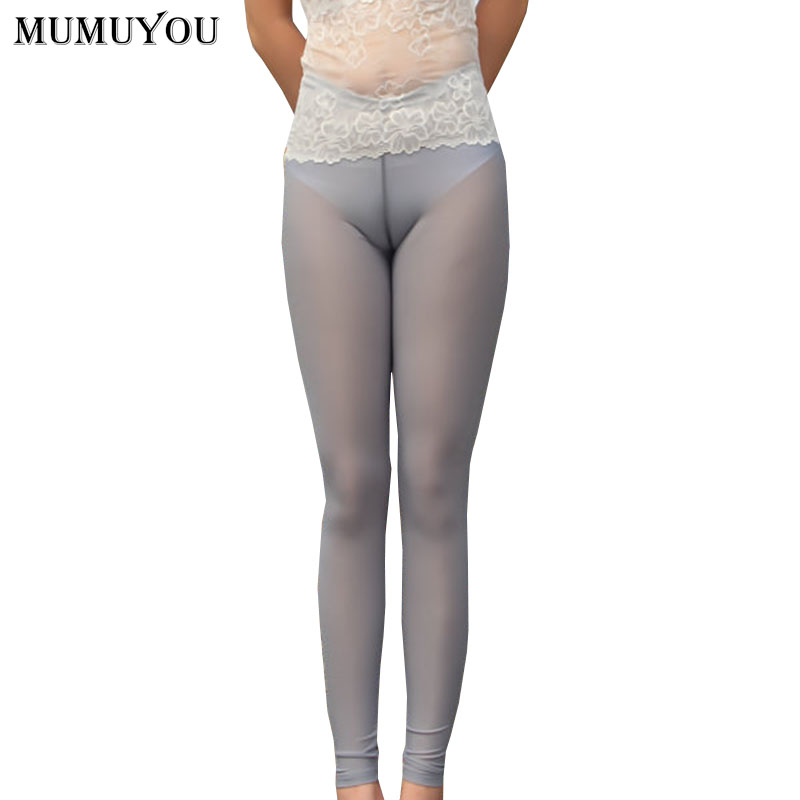 Women Sexy Skinny Nylon   Leggings   Solid See Through Mid Waist Thin Elastic Waist Ankle-Length Trousers Transparent 906-A244