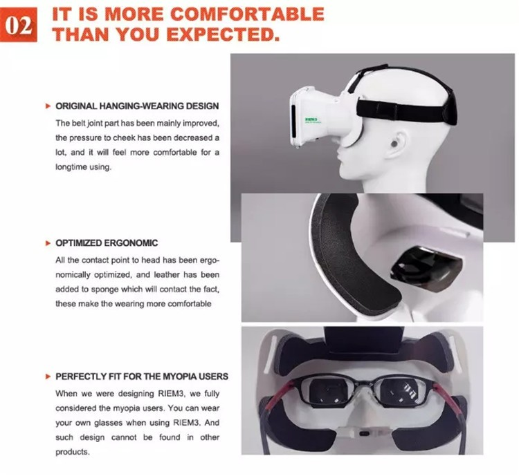 New Ritech III 3D VR Glasses RIEM3 Virtual Reality Head Mount Google Cardboard Oculus Rift DK2 Box for 4.7 ~ 6.0 Inch SmartPhone (5)