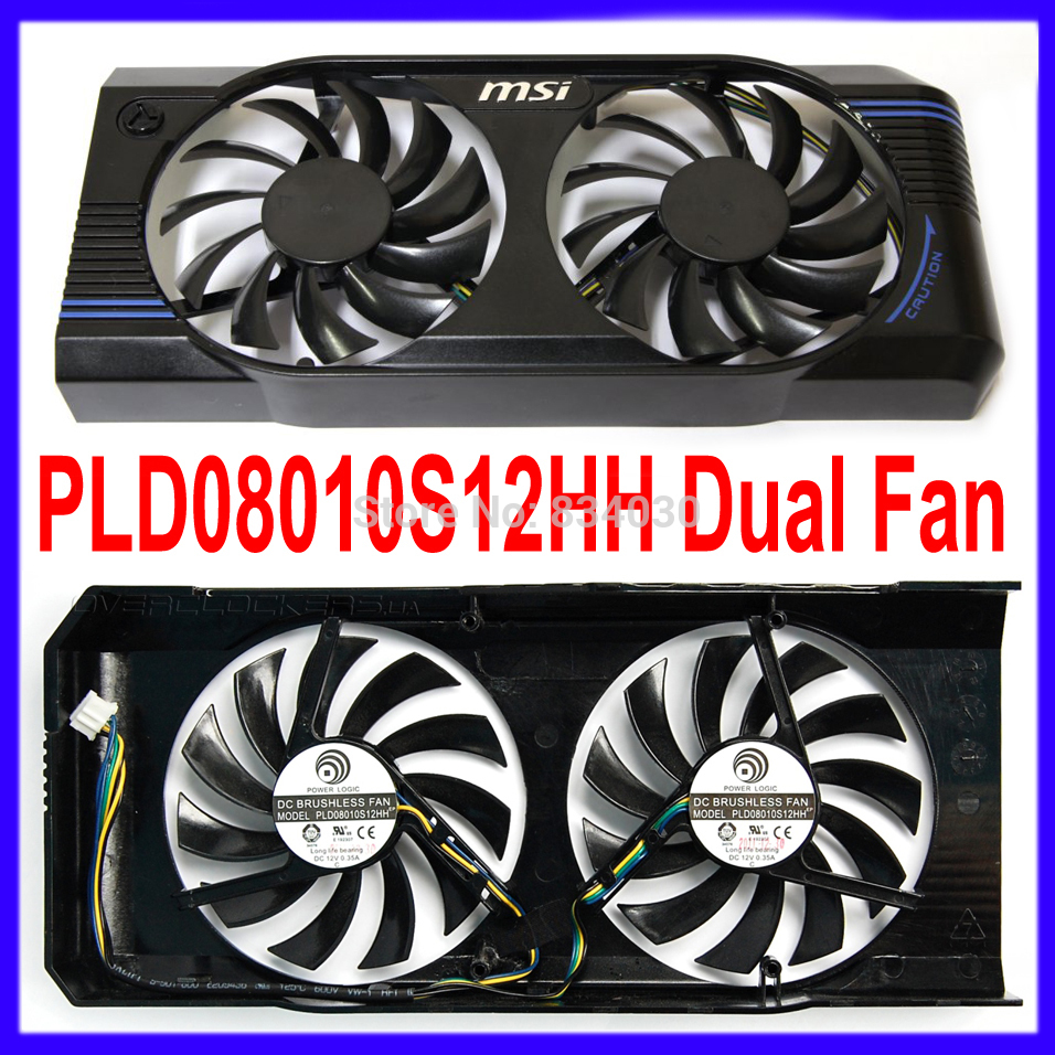 Neue computador lufter ersatz twin frozr ii msi r7770 hd 7770 n460 n560 gtx graphics grafikkarte fans (PLD08010S12HH) free shipping 2pcs lot pld08010s12hh dc 12v 0 35a 75mm dual fans replacement video card fan msi twin frozr iii 4pin