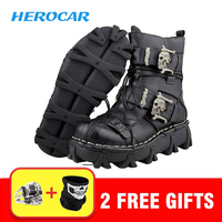 Motorcycle Boots Men Biker Boots Retro Genuine Cow Leather Skull Punk Martin Shoes Motorbike Moto Boots Protective Gear EU 38 49