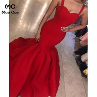 Sexy 2019 Red Mermaid Evening Dresses Long Spaghetti Straps Sweetheart Zipper Back Satin Evening Gowns Prom Dress