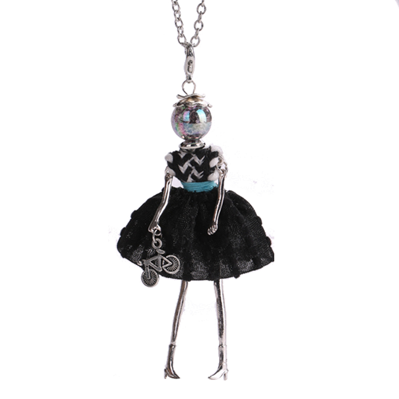 Ylwhjj new women doll pendant maxi necklace handmade black for Jewelry accessories for black dress