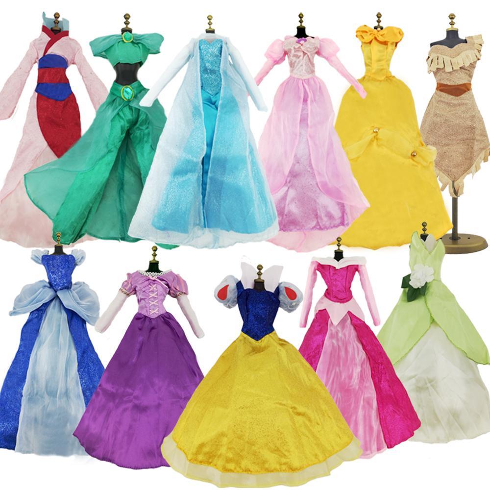 Random 1 Fairy Tale Dress Wedding Dance Ball Gown Cosplay Clothes For 17 Inch. Doll Princess Rapunzel Cinderella Snow White Elsa