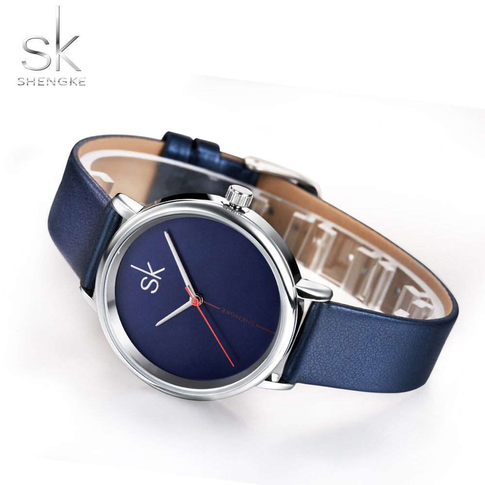 Shengke Women Watch Luxury Top Brand Watch Sapphire Blue Clock Leather Navy Simple Fashion Watch Ladies Relogio Feminino