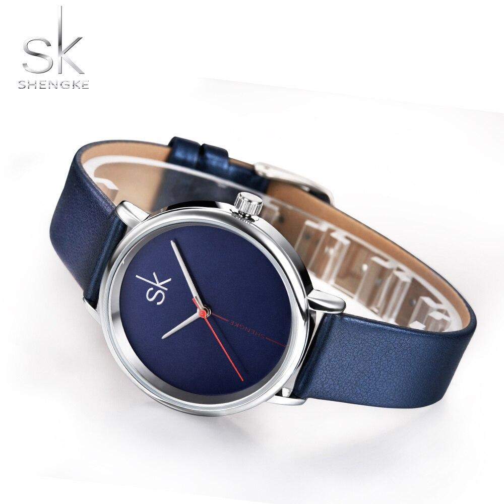 Shengke reloj de lujo para mujer, reloj de marca de lujo, reloj de cuero azul zafiro, reloj de moda Simple marino, reloj femenino para mujer, 2017