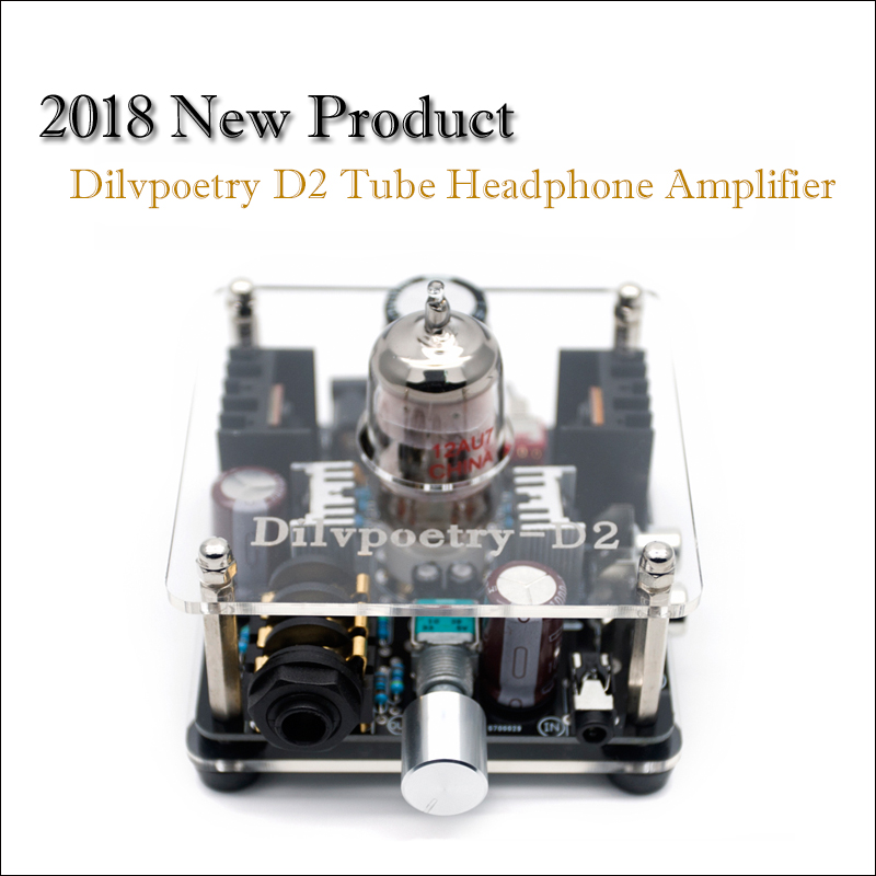 Dilvpoetry D2 Class A Amplifier Tube Headphone Amplifier Stereo Vacuum Tube Amp Mini Preamp Tube Preamplifier