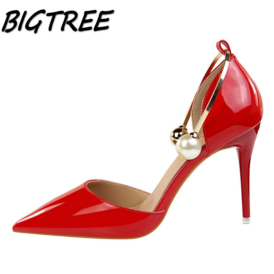 BIGTREE new women pumps high heels shoes woman Fashion Pointed Toe Metal String Bead party wedding PU Sweet stiletto shoes 34-39 new spring summer women pumps fashion pointed toe high heels shoes woman party wedding ladies shoes leopard pu leather