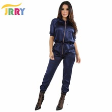 JRRY Casual Autumn Zippers Pockets Women Jumpsuit Long Sleeve Half Sleeve Top Long Pants Ladies Romper Overall