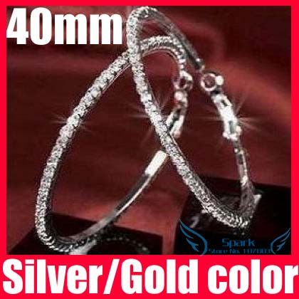 Wholesale 30/40/50/60/70/80/90/100mm Paparazzi Basketball Wives Hoop Earrings Crystal Rhinestone Hoop Earrings - SKBTQ