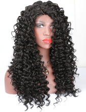 COLODO Ladies Long Black Hair Wigs for Women L Shaped Deep Curly Synthetic Lace Front Wigs Glueless 180 Density