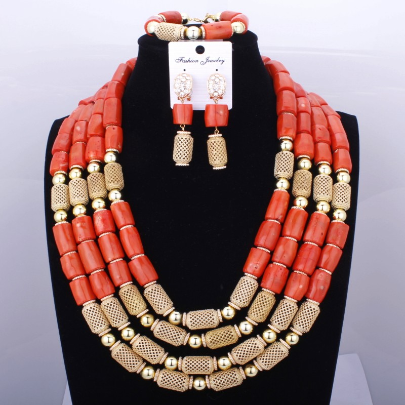 Red Coral Nigerian African Bride Wedding Beads Jewelry Set Plated Gold Jewellery set 4 Layers Necklace Bracelet earring jewelryRed Coral Nigerian African Bride Wedding Beads Jewelry Set Plated Gold Jewellery set 4 Layers Necklace Bracelet earring jewelry