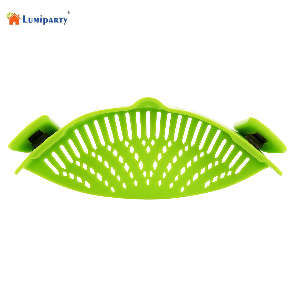 lumiparty green silicone snap strainer dishwasher safe colander universal size fit most pans. Black Bedroom Furniture Sets. Home Design Ideas