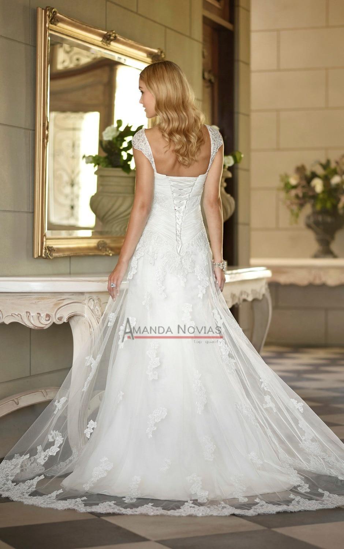 Cap Sleeve Mermaid Lace Wedding Dress Famous Bridal Designers