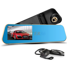 Lente Dual de 4.3 pulgadas Full HD 1080 P espejo retrovisor del coche DVR Dash Cam visión nocturna coche DVR de doble cámara grabadora de vídeo