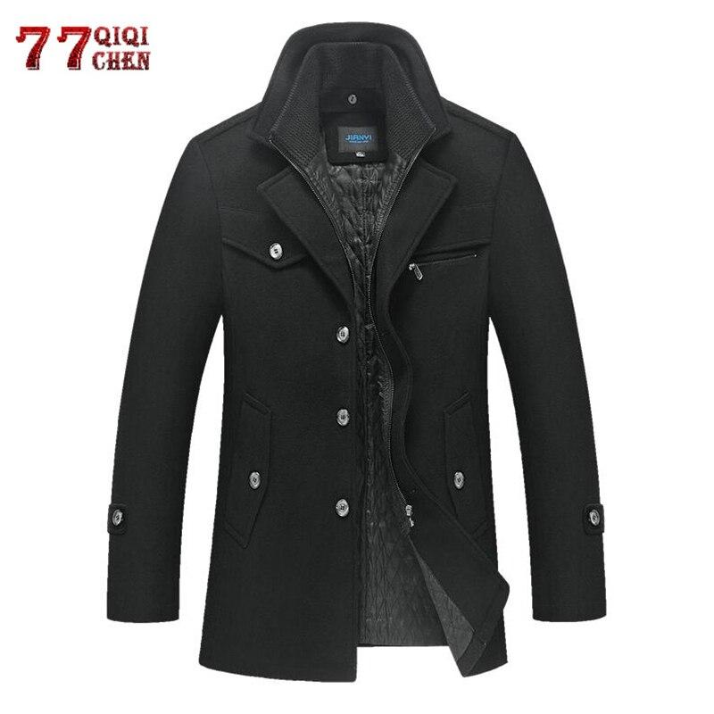 Winter Wool Coat Men Thick Warm Woolen Overcoat Casaco Masculino Palto Jaket Men's Casual Slim Trench Coats Peacoat 5XL Jackets