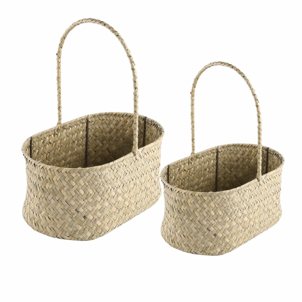 2 Pcs/Set Oval shaped Seagrass Weave Flower Basket Handheld Sundries ...