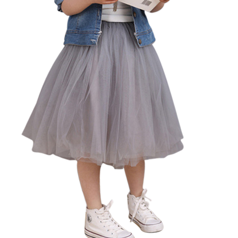 2018 Summer Fluffy Soft Tulle Girls Tutu Skirt Pettiskirt Medlium Long Girls Skirts for 6M-13Y Kids Mesh Ball Gown Skirt DQ867