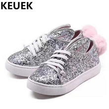 NEW Autumn High-end Custom Genuine Leather Children Shoes Girls Silver Sequins Comfortable Sneakers Kids Flats Casual 044