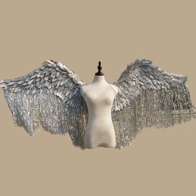 2018 novo estilo de prata de ouro adereços catwalk adereços show festival da asa do anjo de Penas asas De Anjo adereços Janela mostrar cueca traje