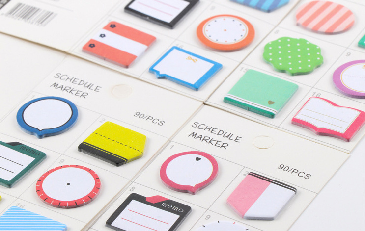 Kawaii Fresh Style Schedule Marker Self-Adhesive Memo Pad Sticky Notes Post It Bookmark School Office Supply papelaria