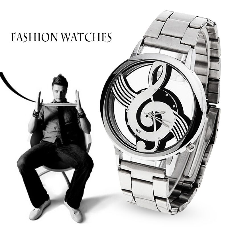 2016 Новый роскошный Бренд моды и случайные Музыкальная нота Обозначения Часы Из Нержавеющей Стали Наручные Часы Для Мужчин и женщин Серебряные Часы