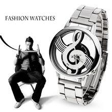 2017 Новый Роскошный Бренд Моды и Случайные Музыкальная Нота Обозначения Часы Из Нержавеющей Стали Наручные Часы для Мужчин и Женщин Серебряные Часы