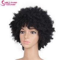 América Sallyhair Alta Temperatura Sintética Afro Rizado Negro Natural rizado Peluca Corta de Tamaño Medio