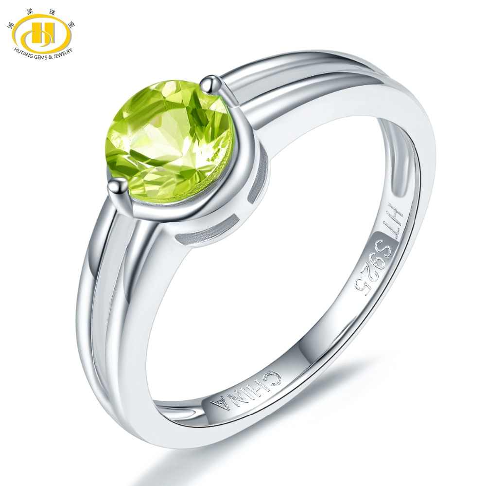 Hutang Peridot แหวนสตรีบริสุทธิ์ 925 สีเขียวธรรมชาติแหวนอัญมณีเรียบง่าย Fine Elegant เครื่องประดับของขวัญใหม่มาถึง