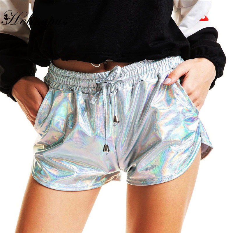 Helisopus Shiny Metallic Casual Hot   Shorts   Women Summer Holographic Elastic Drawstring Booty   Shorts   Night Club Dance Streetwear