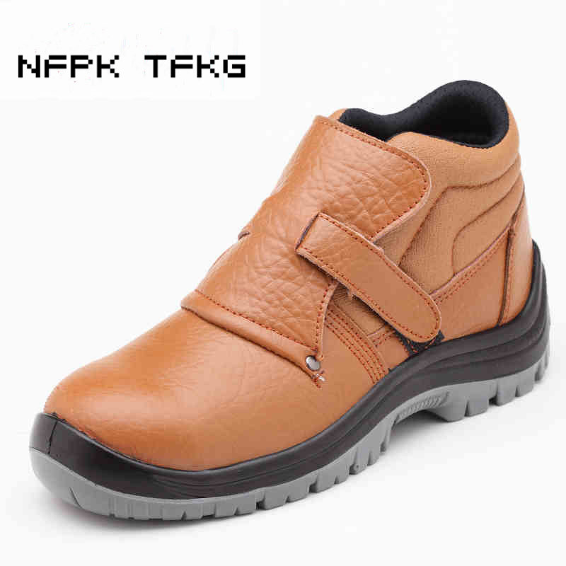 mens casual big size welder dress steel toe caps working safety welding shoes spring autumn genuine leather platform ankle boots стоимость