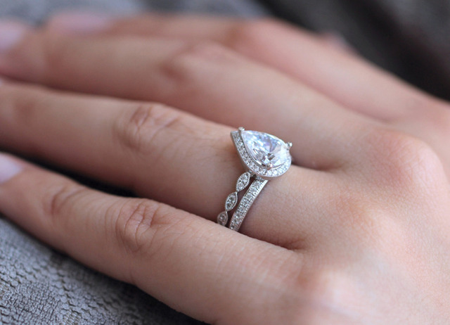 3.3 CTW Pear Cut Simulated Diamond 925 Sterling Silver with Gold Wedding Engagement Ring