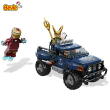 Bevle Decool 7101 Avenger Super Iron Man/Loki/Hawkeye Pickup Truck Building Block Toys Brick Gift Compatible with Lepin
