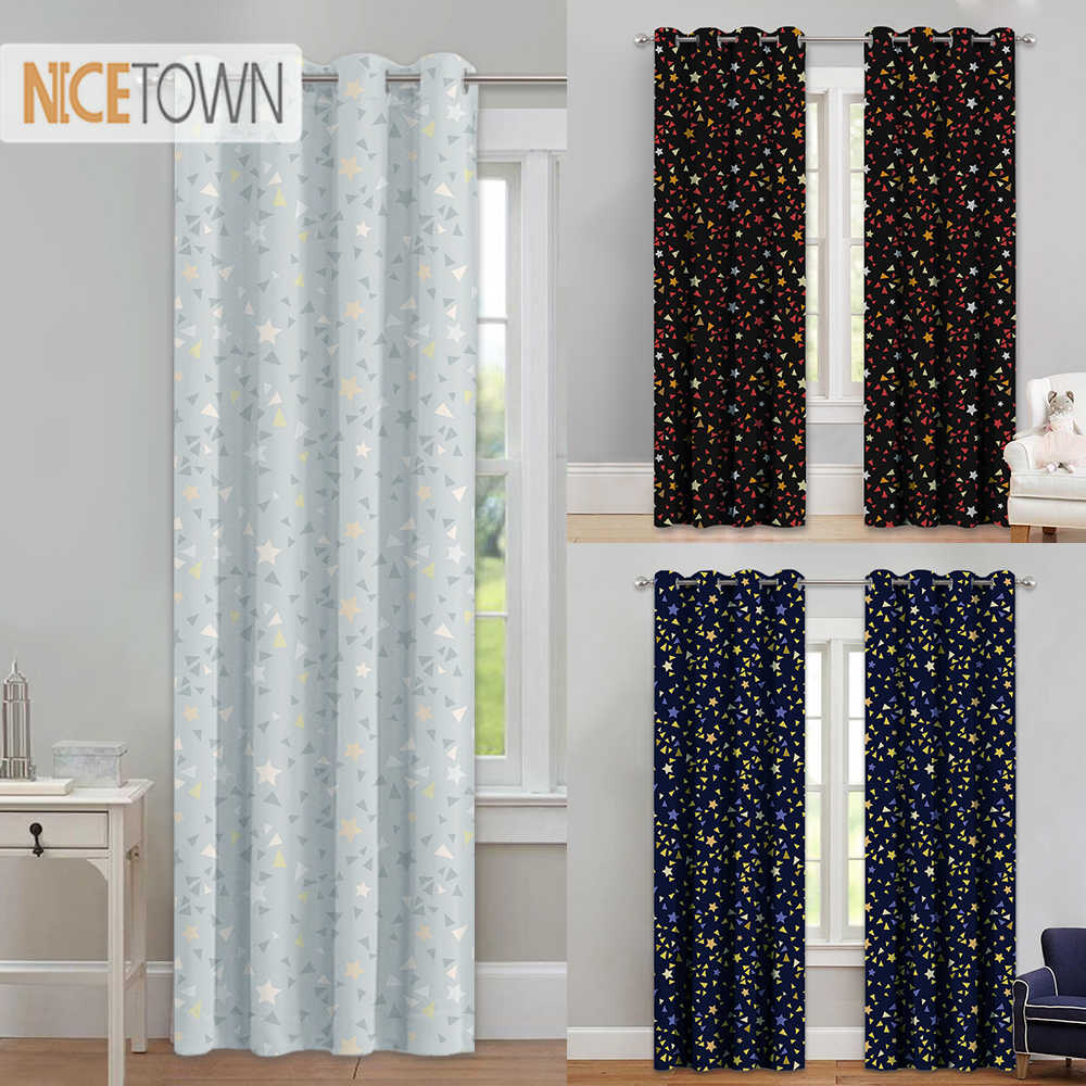 NICETOWN Printed Star Patterns Curtains Home Decoration Room Darkening Magical Drapes with Grommet Top for Kids and Nursery Room