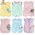 Verão Macacão de Bebê Recém-nascido de Manga Curta Colorido Dos Desenhos Animados Macacões de Bebê de Algodão Listrado Infantil Roupas de Bebê Para Meninas Traje