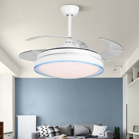 42 Inch Nordic Invisible Restaurant Fan Chandelier Modern Simple Home Quiet Charged Fan Lamp with Remote Control