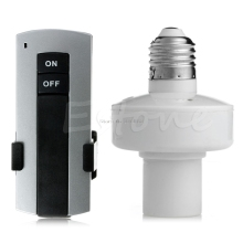 1Set E27 Screw Wireless Remote Control Light Lamp Bulb Holder Cap Socket Switch Nice Gifts -B119