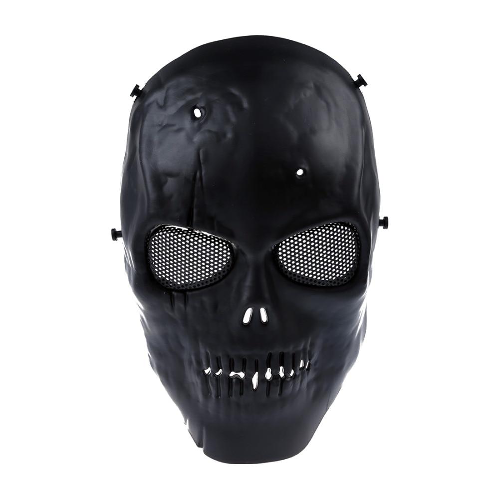 FJS Airsoft Mask Skull Full Protective Mask Military - Black
