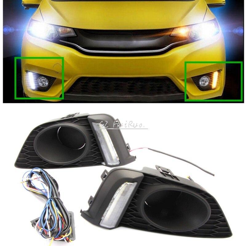 2pcs LED White+Yellow Daytime Running Lights DRL for HONDA FIT JAZZ 2014-2015 2pcs led white yellow daytime running lights drl for honda fit jazz 2014 2015