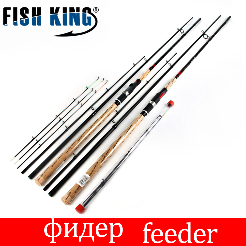 цена на FISH KING Feeder High Carbon Super Power 3 Sections fishing rod CW L M H 3.6M 3.9M Lure Feeder Fishing Rod Feeder Rod