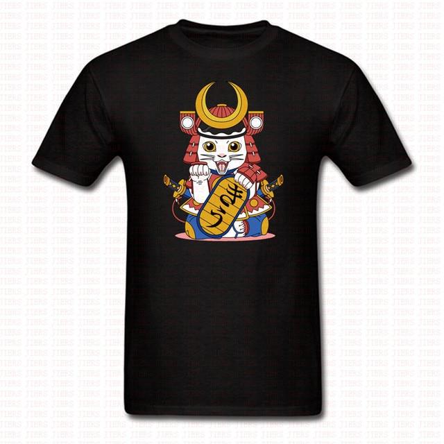 O Manica Corta Lucky T Shirt Uomo Cat Donna Collo Samurai Giapponese qVpjLUGSzM