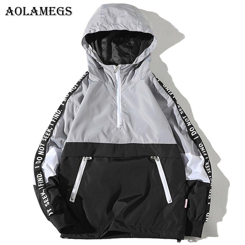Aolamegs Jackets Men Patchwork Side Letter Hooded Jacket Tracksuit High Street Coats Hip Hop Male Streetwear Couple Windproof sweatshirt
